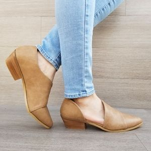 Shoes - Taupe Opened Side Pointy Toe Low Cut  Booties